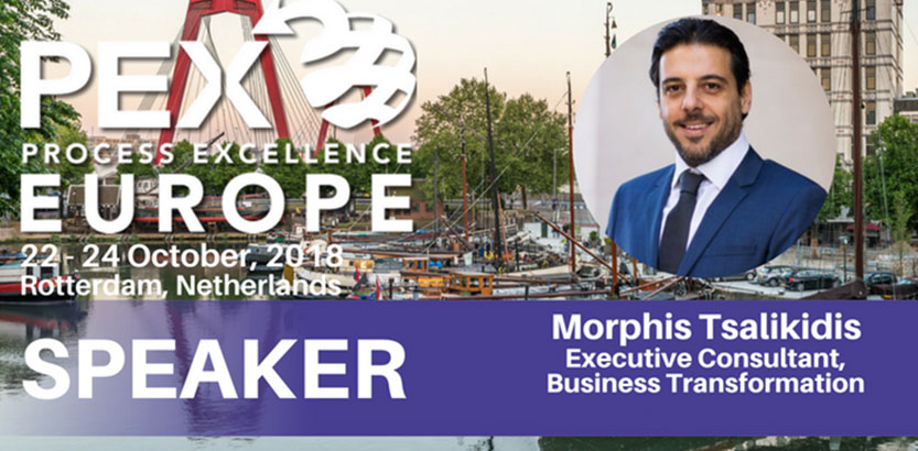 Morphis Tsalikidis speaking at Process Excellence Europe Conference in Rotterdam, Netherlands