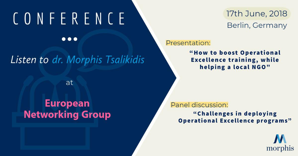 Morphis Tsalikidis speaking at European Networking Group in Berlin, Germany