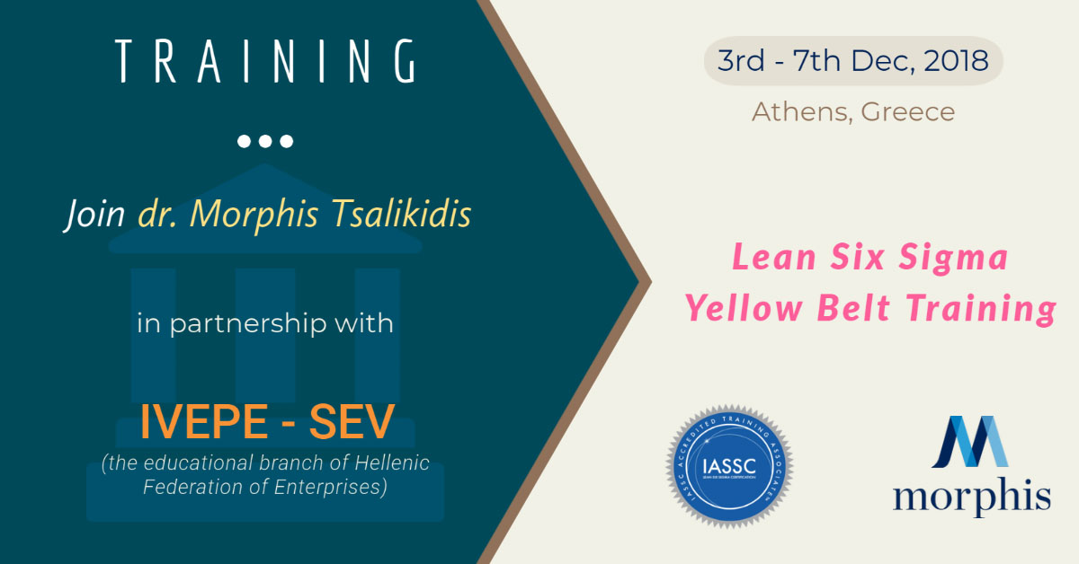 IASSC accredited trainer Dr. Morphis Tsalikidis will deliver Lean Six Sigma Yellow Belt training, in partnership with IVEPE-SEV