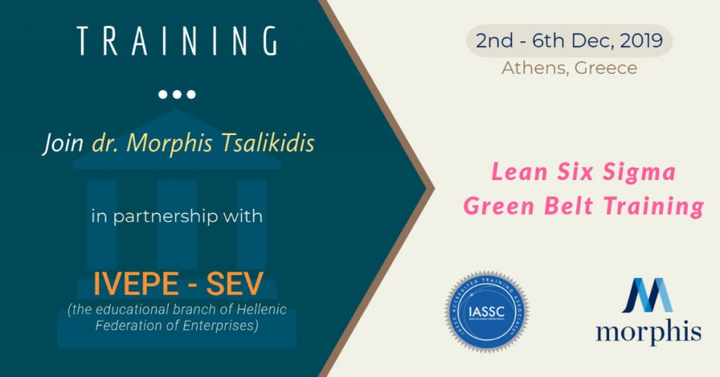 IASSC accredited trainer Dr. Morphis Tsalikidis will deliver Lean Six Sigma Green Belt training, in partnership with IVEPE-SEV